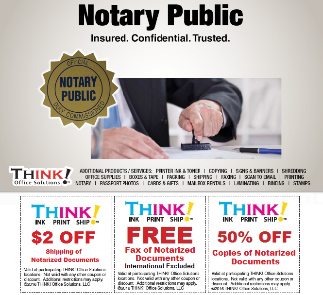 Mobile notary services Denver Aurora Centennial pueblo CO THINK! Office Solutions