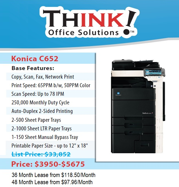 Konica Minolta Bizhub Color Copier C652 Denver THINK!